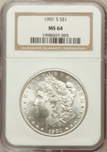 Morgan Dollars: , 1901-S $1 MS64 NGC. NGC Census: (599/99). PCGS Population(874/253). Mintage: 2,284,000. Numismedia Wsl. Price for problem...