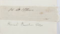 Autographs:Authors, Harriet Beecher Stowe, American Writer and Abolitionist. ClippedSignature. Mounted to small card. Very good....