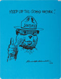 Autographs:Artists, Rudolph Wendelin, American Cartoonist and Creator of Smokey theBear. Signed Original Drawing. Approx. 11 x 8.5 inches. Over...