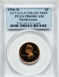 Modern Issues, 1996-W G$5 Smithsonian Gold Five Dollar PR69 Deep Cameo PCGS. Ex:US Vault Collection. PCGS Population (1826/68). NGC Censu...