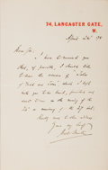 Autographs:Authors, Bret Harte, American Author and Poet. Autographed Letter Signed. Very good....