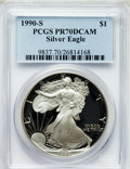 Modern Bullion Coins, 1990-S $1 One Ounce Silver Eagle PR70 Deep Cameo PCGS. PCGSPopulation (836). NGC Census: (1125). Mintage: 695,510. Numisme...