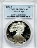 Modern Bullion Coins, 1992-S $1 One Ounce Silver Eagle PR70 Deep Cameo PCGS. PCGSPopulation (407). NGC Census: (760). Mintage: 498,654. Numismed...