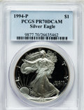 Modern Bullion Coins, 1994-P $1 One Ounce Silver Eagle PR70 Deep Cameo PCGS. PCGSPopulation (162). NGC Census: (359). Mintage: 372,168. Numismed...