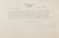 Autographs:Authors, Upton Sinclair, American Writer. Typed Letter Signed. Very good....