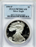 Modern Bullion Coins: , 1994-P $1 Silver Eagle PR70 Deep Cameo PCGS. PCGS Population (162).NGC Census: (359). Mintage: 372,168. Numismedia Wsl. Pr...