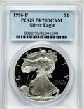 Modern Bullion Coins, 1996-P $1 One Ounce Silver Eagle PR70 Deep Cameo PCGS. PCGSPopulation (700). NGC Census: (614). Numismedia Wsl. Price for...