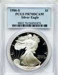 Modern Bullion Coins, 1986-S $1 One Ounce Silver Eagle PR70 Deep Cameo PCGS. PCGSPopulation (526). NGC Census: (1126). Mintage: 1,446,778. Numis...