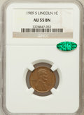 Lincoln Cents: , 1909-S 1C AU55 NGC. CAC. NGC Census: (53/280). PCGS Population(92/321). Mintage: 1,825,000. Numismedia Wsl. Price for prob...