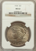 Peace Dollars: , 1934 $1 MS62 NGC. NGC Census: (793/3113). PCGS Population(920/4195). Mintage: 954,057. Numismedia Wsl. Price for problemf...