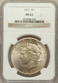 Peace Dollars: , 1927 $1 MS62 NGC. NGC Census: (1067/2599). PCGS Population(1149/4255). Mintage: 848,000. Numismedia Wsl. Price for problem...