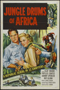 "Movie Posters:Adventure, Jungle Drums of Africa (Republic, 1953). One Sheet (27"" X 41"")Tri-folded. Adventure. Starring Clayton Moore, Phyllis Coates..."