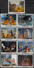 "Movie Posters:Animated, Lady and the Tramp (Buena Vista, R-1980). Lobby Card Set of 9 (11""X 14""). Animated Musical. Starring the voices of Barbara ...(Total: 9 Items)"