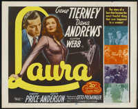 "Laura (20th Century Fox, R-1952). Half Sheet (22"" X 28""). Film Noir. Starring Gene Tierney, Dana Andrews, Clif..."