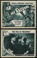 "Movie Posters:Adventure, Sky Raiders (Universal, 1941). Title Lobby Card (11"" X 14"") andLobby Card (11"" X 14""). Serial. Starring Donald Woods, Billy...(Total: 2 Items)"