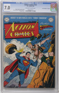 "Golden Age (1938-1955):Superhero, Action Comics #132 Davis Crippen (""D"" Copy) pedigree (DC, 1949) CGC FN/VF 7.0 Off-white to white pages. This currently holds..."