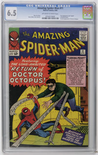 The Amazing Spider-Man #11 (Marvel, 1964) CGC FN+ 6.5 Off-white pages. Second appearance of Doctor Octopus. Steve Ditko...