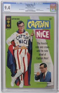 Captain Nice #1 File Copy (Gold Key, 1967) CGC NM 9.4 Off-white to white pages. William Daniels photo cover. Back cover...