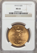 Saint-Gaudens Double Eagles: , 1915-S $20 MS65 NGC. NGC Census: (1619/152). PCGS Population(1933/189). Mintage: 567,500. Numismedia Wsl. Price for proble...