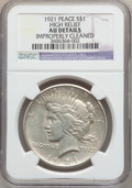 Peace Dollars: , 1921 $1 -- Improperly Cleaned -- NGC Details. AU. Ex: High Relief.NGC Census: (175/11114). PCGS Population (313/12841). Mi...