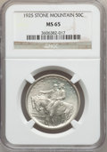 Commemorative Silver: , 1925 50C Stone Mountain MS65 NGC. NGC Census: (2227/789). PCGSPopulation (2163/926). Mintage: 1,314,709. Numismedia Wsl. P...