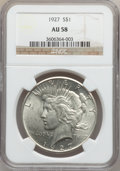 Peace Dollars: , 1927 $1 AU58 NGC. NGC Census: (310/4069). PCGS Population(456/5666). Mintage: 848,000. Numismedia Wsl. Price for problemf...