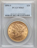 Liberty Double Eagles: , 1896-S $20 MS63 PCGS. PCGS Population (1017/154). NGC Census:(772/123). Mintage: 1,403,925. Numismedia Wsl. Price for prob...