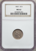 Three Cent Nickels: , 1865 3CN MS62 NGC. NGC Census: (296/1059). PCGS Population(256/1155). Mintage: 11,382,000. Numismedia Wsl. Price for probl...