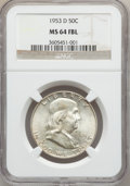 Franklin Half Dollars: , 1953-D 50C MS64 Full Bell Lines NGC. NGC Census: (819/316). PCGSPopulation (3171/1017). Numismedia Wsl. Price for problem...