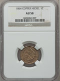 Indian Cents: , 1864 1C Copper-Nickel AU58 NGC. NGC Census: (77/1043). PCGSPopulation (142/1258). Mintage: 13,740,000. Numismedia Wsl. Pri...