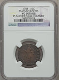 Colonials: , 1788 1/2 C Massachusetts Half Cent -- Cleaned, Planchet Flaw -- NGCDetails. VG. NGC Census: (0/31). PCGS Population (0/116...