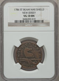 Colonials: , 1786 COPPER New Jersey Copper, Narrow Shield VG10 NGC. NGC Census:(5/54). PCGS Population (11/177). ...