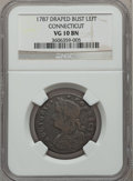 Colonials: , 1787 COPPER Connecticut Copper, Draped Bust Left VG10 NGC. NGCCensus: (21/145). PCGS Population (46/507). ...