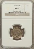 Buffalo Nickels: , 1925-D 5C VF35 NGC. NGC Census: (10/596). PCGS Population (30/857).Mintage: 4,450,000. Numismedia Wsl. Price for problem f...