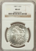 Morgan Dollars: , 1887-S $1 MS63 NGC. NGC Census: (1551/1123). PCGS Population(2591/2076). Mintage: 1,771,000. Numismedia Wsl. Price for pro...