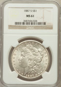 Morgan Dollars: , 1887-S $1 MS61 NGC. NGC Census: (608/3888). PCGS Population(433/6374). Mintage: 1,771,000. Numismedia Wsl. Price for probl...