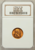 Lincoln Cents: , 1942-S 1C MS67 Red NGC. NGC Census: (673/0). PCGS Population(312/2). Mintage: 85,590,000. Numismedia Wsl. Price for proble...