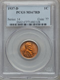 Lincoln Cents: , 1937-D 1C MS67 Red PCGS. PCGS Population (321/2). NGC Census:(1009/1). Mintage: 50,430,000. Numismedia Wsl. Price for prob...