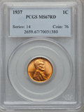 Lincoln Cents: , 1937 1C MS67 Red PCGS. PCGS Population (403/1). NGC Census:(1088/0). Mintage: 309,179,328. Numismedia Wsl. Price for probl...