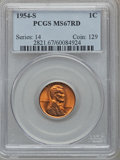 Lincoln Cents: , 1954-S 1C MS67 Red PCGS. PCGS Population (189/0). NGC Census:(644/0). Mintage: 96,190,000. Numismedia Wsl. Price for probl...