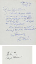 Autographs:Bats, Early 1960's Paul & Lloyd Waner Signed Autographs....