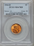 Lincoln Cents: , 1944-D 1C MS67 Red PCGS. PCGS Population (267/2). NGC Census:(853/0). Mintage: 430,577,984. Numismedia Wsl. Price for prob...