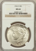 Peace Dollars: , 1922-S $1 MS64 NGC. NGC Census: (1757/269). PCGS Population(1803/300). Mintage: 17,475,000. Numismedia Wsl. Price for prob...