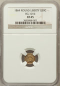 California Fractional Gold: , 1864 50C Liberty Round 50 Cents, BG-1016, R.5, XF45 NGC. NGCCensus: (1/10). PCGS Population (3/71). ...