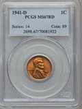 Lincoln Cents: , 1941-D 1C MS67 Red PCGS. PCGS Population (183/0). NGC Census:(897/0). Mintage: 128,700,000. Numismedia Wsl. Price for prob...