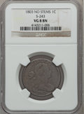 Large Cents, 1803 1C No Stems, S-243, B-1, R.2 VG8 NGC. S-243. PCGS Population(0/4). ...