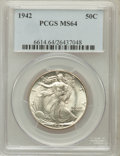 Walking Liberty Half Dollars: , 1942 50C MS64 PCGS. PCGS Population (5912/9367). NGC Census:(3971/7923). Mintage: 47,839,120. Numismedia Wsl. Price for pr...