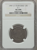 Half Cents: , 1797 1/2 C 1 Above 1, Plain Edge AG3 NGC. C-1. NGC Census: (0/46).PCGS Population (7/107). Numismedia Wsl. Price for pro...
