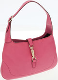 Luxury Accessories:Bags, Gucci Pink Leather Jackie Shoulder Bag with Piston Closure. ...