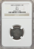 Early Dimes, 1805 10C 4 Berries Fair 2 NGC. JR-2. NGC Census: (9/255). PCGSPopulation (16/385). Mintage: 120,780. Numismedia Wsl. Price...